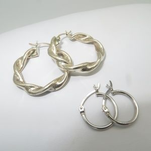 Sterling Hoops-2 pairs